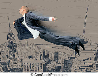 Businessman flying above the city