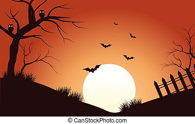 Scenery bat at afternoon silhouette