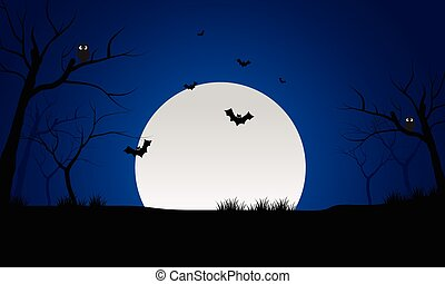 At night bat and full moon scenery silhouette