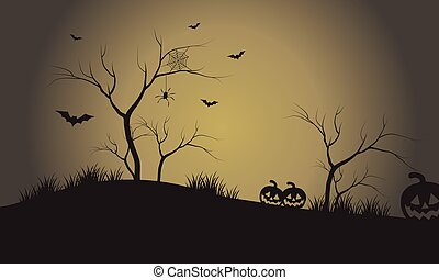 Silhouette of pumpkins and bat at afternoon