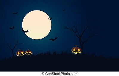 Pumpkins and bat at night scenery Halloween