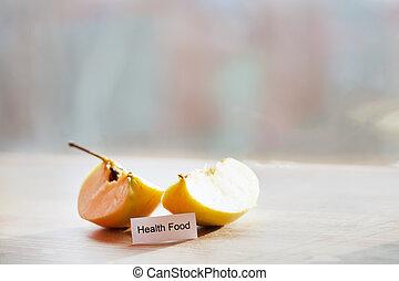 conceito, fatias, maçã, Escreva, alimento,  –, saúde, fresco