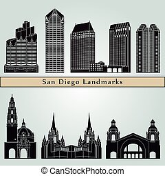 San Diego landmarks and monuments isolated on blue...