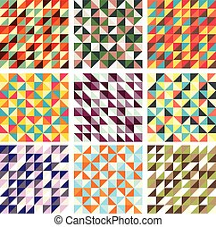 Collection of nine vector seamless patterns with trianglies