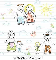 Seamless background with happy family - mother, father, son,...