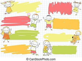 Set of scribble banners with happy boys and girls