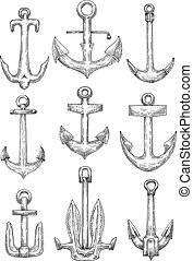 Nautical anchors for naval ships and boats design - Naval...