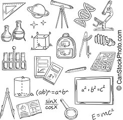 Education icons with school supplies and equipment