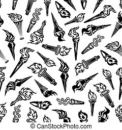 Black and white seamless flaming torches pattern