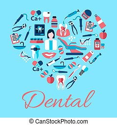 Heart symbol of dental care icons, flat style