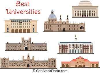 Buildings of popular national universities icons - National...