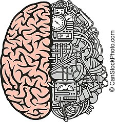 Brain machinery icon for business, science design