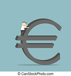 Businessman is climbing up on euro currency symbol -...