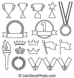 Line flat award trophy icons - vector black line flat award...