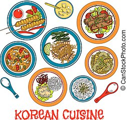 Korean grilled meat and seafood dishes sketch icon -...