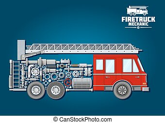Fire truck icon with mechanical details - Fire truck...