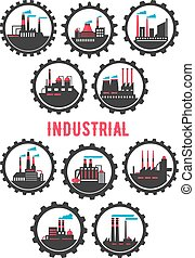 Industrial plants flat symbols framed by cogwheels -...