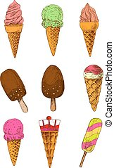 Sketched ice cream cones, sticks and popsicle - Chocolate...