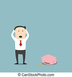 Bankrupt businessman with empty piggy bank - Frustrated...