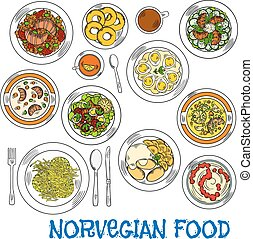 Traditional norwegian seafood and vegetable dishes -...