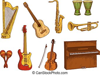 Musical instruments icons for entertainment design - Retro...