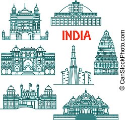 Architectural heritage of India linear icons - Tourist...
