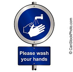 Wash hands signpost - Mandatory health and safety please...