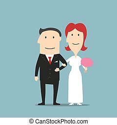 Just married cartoon bride and groom