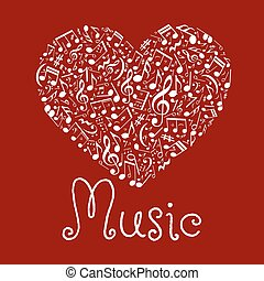 Loving musical heart symbol made up of notes