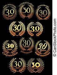 Anniversary golden laurel and olive wreaths icons