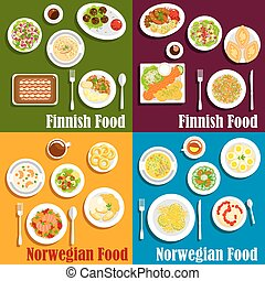 Finnish and norwegian seafood dishes icon - Seafood dishes...
