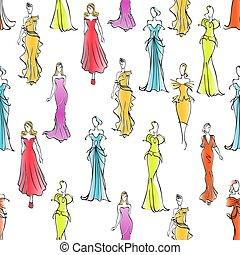 Women in formal wear seamless pattern background