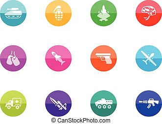Circle Icons - Military - Military icons in color circles