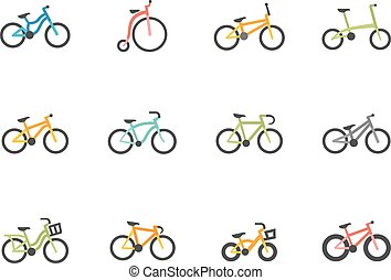 Flat Color Icons - Bicycles - Bicycle type icons in flat...