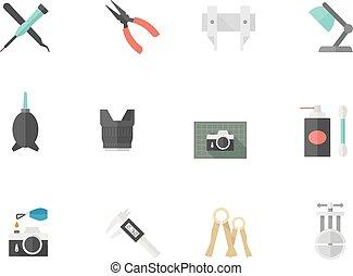 Flat Color Icons - Camera Repair - Camera repair tool icons...