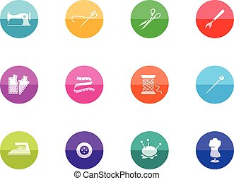 Circle Icons - Sewing - Sewing icons in color circles