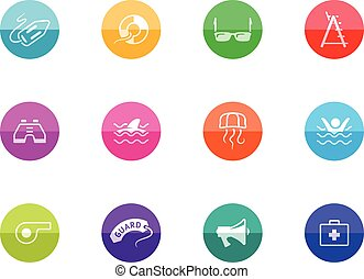 Circle Icons - Lifeguard - Lifeguard icons in color circles