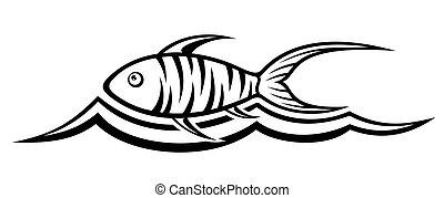 logotipo, peixe, onda
