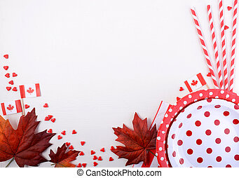 Canada Party Table Background with red and white plates,...