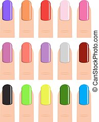 nail polish in different hues. - Womans fingers. Color set...