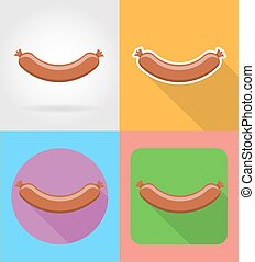 fried sausage fast food flat icons with the shadow vector illustration