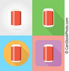 soda in the can fast food flat icons with the shadow vector illustration