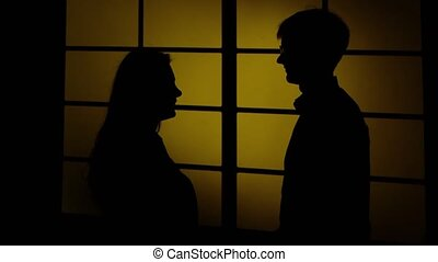 People and domestic violence. Silhouette. Close up