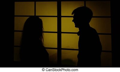 People and domestic violence. Silhouette. Close up - People...