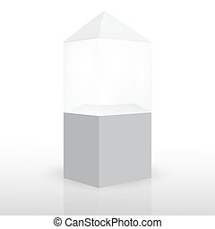 Vector Ads: Empty display case on Isolated white background. Mock-up template ready for design.