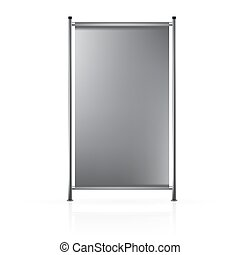 VECTOR ADS: Dark gray blank roll up banner connected to...