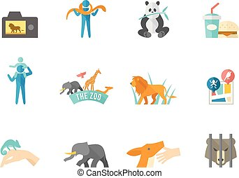 Flat color icons - Zoo