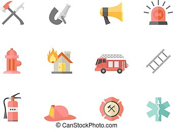 Flat color icons - Fire Fighter - Fire fighter icons in flat...