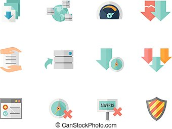 Flat color icons - File Sharing - File sharing icon series...