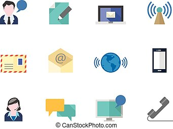 Flat color icons - Communication